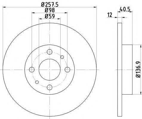 TEXTAR FIAT Диск тормозной передний TIPO,TEMPRA 1.8 257x12 TEXTAR 92041503