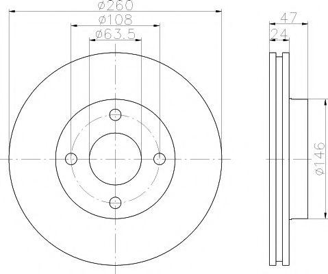 TEXTAR  Тормозной диск пер. FORD Mondeo -2000; Scorpio -98 (260*24) TEXTAR 92063503