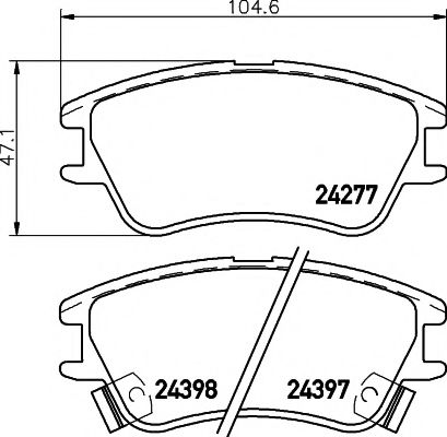 Комплект тормозных колодок, дисковый тормоз  арт. 2427701