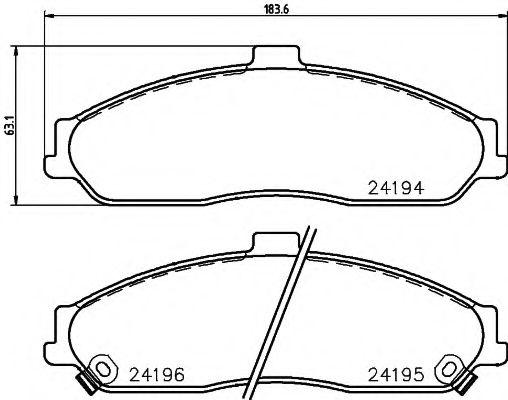 Комплект тормозных колодок, дисковый тормоз  арт. 2419401