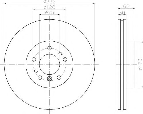 TEXTAR BMW Диск тормозной перед. (вентил.) X5 (E53), X3 (E83) (332*30) TEXTAR 92107205