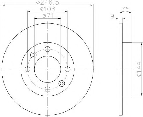 TEXTAR  CITROEN Тормозной диск задний Berlingo, C2, C3, C4 TEXTAR 92111703