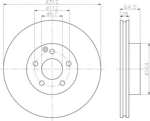 TEXTAR DB Тормозной диск перед (вентил.) (312*28)  W211 02- TEXTAR 92115305