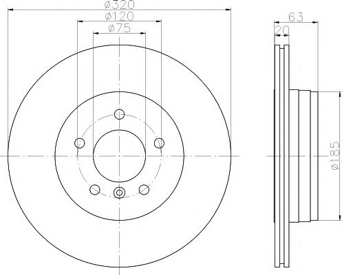 TEXTAR BMW Диск тормозной задний E60 03- (зам.= 92122703) TEXTAR 92122700