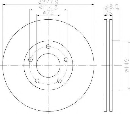TEXTAR  Диск тормозной перед. MAZDA 3, 5  (278*25) TEXTAR 92130303