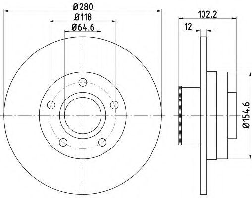 TEXTAR OPEL  Диск тормозной (+подшипник)  Vivaro,Trafic 01- задн. (280*12) TEXTAR 92153703