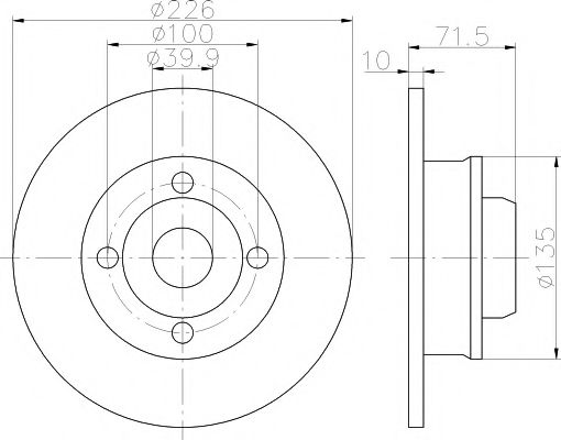 TEXTAR  VW Диск тормозной задний GOLF 91-98, JETTA 84-91 TEXTAR 92154203