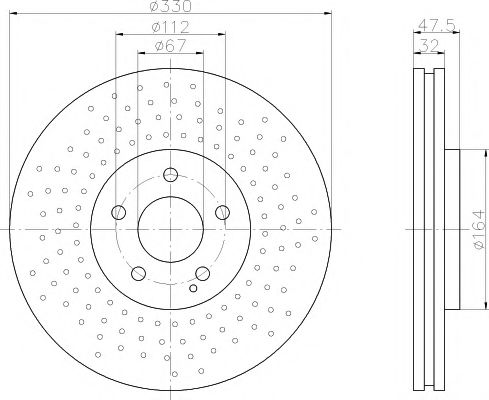 TEXTAR  Тормозной диск пер. DB W211, W220 TEXTAR 92124100