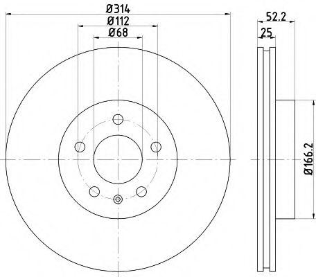 TEXTAR  AUDI Диск тормозной передний (314мм) A4 07-, A5. TEXTAR 92159903