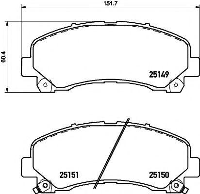 Комплект тормозных колодок, дисковый тормоз  арт. 2514901