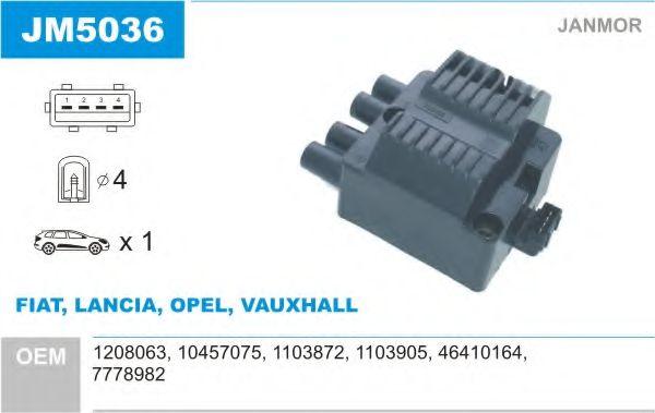 Катушка зажигания OPEL Astra F,G, Vectra A,Tigra,Corsa A,B, FIAT,LANCIA(пр-во Janmor)                 арт. JM5036
