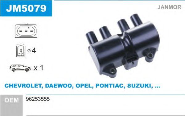 Катушка зажигания CHEVROLET AVEO седан (T250, T255) 1.5, LACETTI 1.8 (пр-во Janmor)                   арт. JM5079