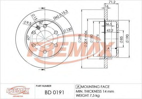 Фото - Диск торм. задний, DB209-318(A 906 423 00 12) FREMAX - BD0191