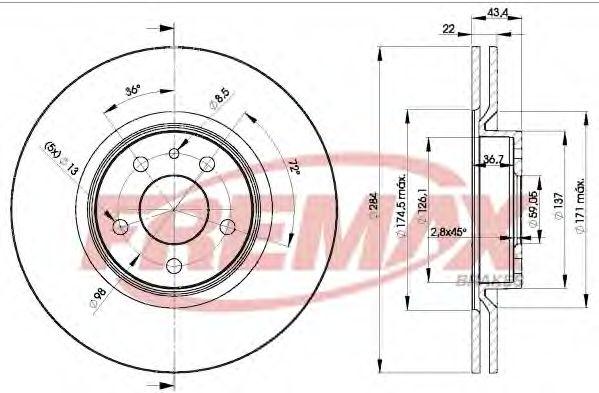 Диск торм. передний, 10- 284mm*5отв  арт. BD1548