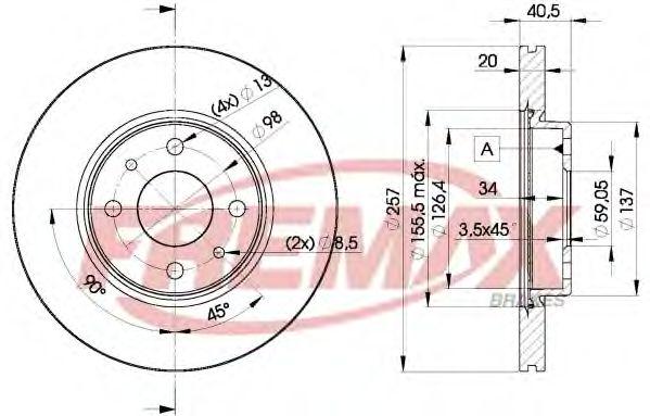 Диск торм. передний, 01-  257.5mm  арт. BD5056