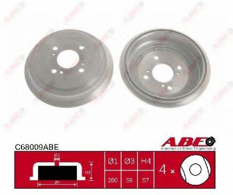 Тормозной барабан Гальмівний барабан ABE арт. C68009ABE