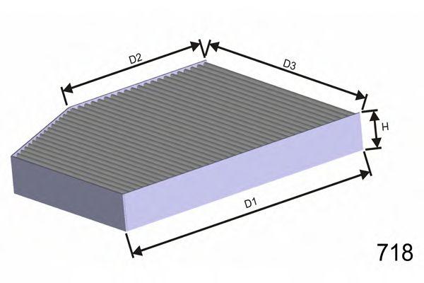 Фильтр салона AUDI A4/A5/Q5 1.8/3.2 TFSI , 2.0/2.7/3.0 TDI 11/07- MISFAT HB194