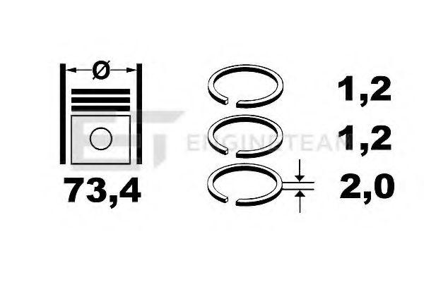 Комплект поршневых колец на поршень ETENGINETEAM арт. R1003600