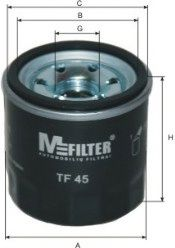 Фильтр масляный MAZDA, NISSAN, RENAULT (пр-во M-FILTER)                                               арт. TF45