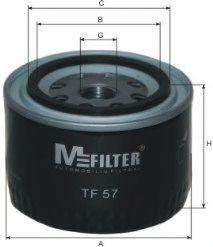 Фильтр масляный ВАЗ 2101-2107 2108-09 (низкий 72мм) (пр-во  M-filter)                                 арт. TF57