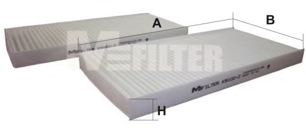 Фильтр салона HYUNDAI TUCSON, KIA SPORTAGE II 04-10 (2шт.) (пр-во M-FILTER)                           арт. K91022