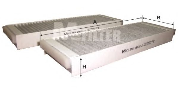 Фильтр салона AUDI A6 04-11 угольный (2шт.) (пр-во M-FILTER)                                         MFILTER K987C2