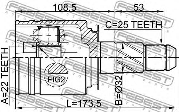 ШРУС ВНУТРЕННИЙ ПРАВЫЙ 22X32X25 INFINITI M35/45 (Y50) 2004-  арт. 0211FX35RH