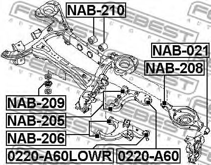 ОПОРА ШАРОВАЯ ЗАДНЕГО НИЖНЕГО РЫЧАГА NISSAN ARMADA TA60/INFINITI QX56 (JA60) 2003- FEBEST 0220A60LOWR