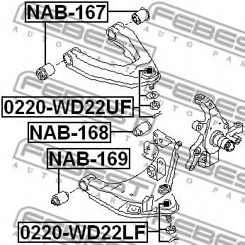 Опора шаровая NISSAN PICK UP 98- перед. мост с двух сторон (Пр-во FEBEST)                            FEBEST 0220WD22LF