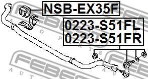 ТЯГА СТАБИЛИЗАТОРА ПЕРЕДНЯЯ ЛЕВАЯ INFINITI FX35/50 (S51) 2008-  арт. 0223S51FL