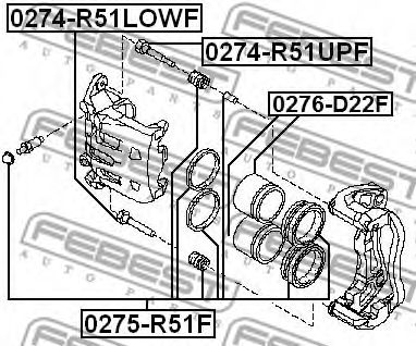 Ремкомплект суппорта передн. NISSAN MURANO Z50 2002-2007 (пр-во FEBEST)                               арт. 0275R51F