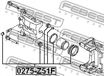 Ремкомплект суппорта задн. NISSAN QASHQAI+2 JJ10E 2008-2013 (пр-во FEBEST)                            арт. 0275Z51F