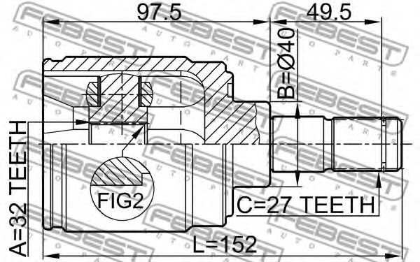 ШРУС ВНУТРЕННИЙ ПРАВЫЙ 32X40X27 HONDA CR-V RD1/RD2 1997-2001  арт. 0311CRVATRH