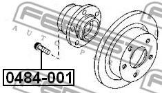 Болт крепления колеса MITSUBISHI (Пр-во FEBEST)                                                       арт. 0484001