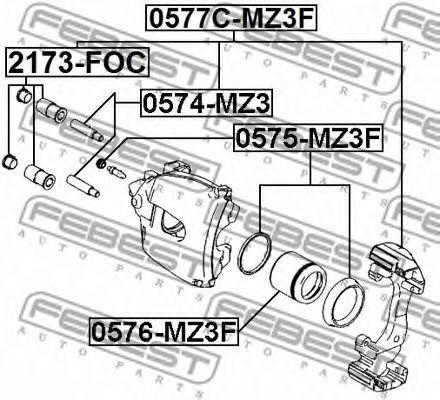 Пыльник втулки направляющей суппорта передн. FORD FOCUS II CB4 2008-2011 (пр-во FEBEST)               арт. 2173FOC