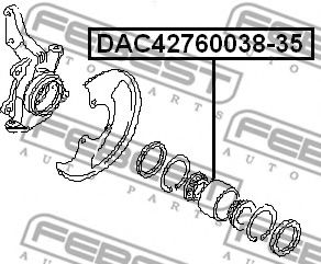 Подшипник ступицы колеса передний (42x76x35x38) (NISSAN PRIMERA P11 1996-2001) FEBEST  арт. DAC4276003835
