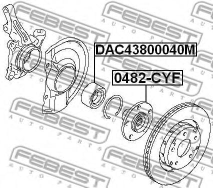 Подшипник ступицы колеса передний (43x80x40) (MITSUBISHI OUTLANDER CW# 2006-2012) FEBEST  арт. DAC43800040M