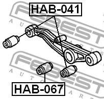 САЙЛЕНБЛОК ЗАДНЕГО ПОПЕРЕЧНОГО РЫЧАГА (HONDA HR-V GH1/GH2/GH3/GH4 1998-2005) FEBEST  арт. HAB067