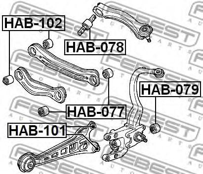 САЙЛЕНБЛОК ЗАДНЕГО ВЕРХНЕГО РЫЧАГА HONDA ACCORD CF3/CF4/CF5/CL1/CL3 1998-2002  арт. HAB078