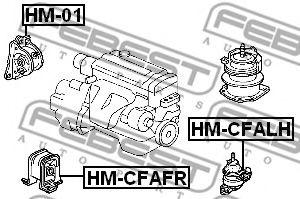 ПОДУШКА ДВИГАТЕЛЯ ПЕРЕДНЯЯ AT HONDA ACCORD CF3/CF4/CF5/CL1/CL3 1998-2002  арт. HMCFAFR