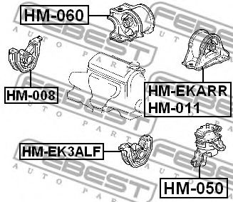 ПОДУШКА ДВИГАТЕЛЯ ПЕРЕДНЯЯ ЛЕВАЯ AT HONDA INTEGRA DC1/DC2/DB6/DB7/DB8/DB9 1993-2000  арт. HMEK3ALF