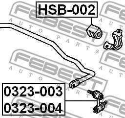 ВТУЛКА ЗАДНЕГО СТАБИЛИЗАТОРА D18 (HONDA CR-V RD4/RD5/RD6/RD7/RD9 2001-2006) FEBEST  арт. HSB002