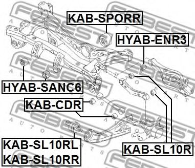 Сайлентблок рычага HYUNDAI I35, KIA SPORTAGE 04- задн. мост (Пр-FEBEST)                               арт. KABSL10RL