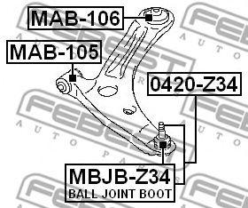 Сайлентблок переднего нижнего рычага задний  арт. MAB106