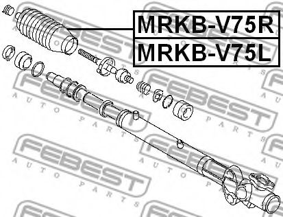 ПЫЛЬНИК РУЛЕВОЙ РЕЙКИ ЛЕВЫЙ (MITSUBISHI PAJERO III MONTERO V65W/V75W 2000-2006) FEBEST FEBEST MRKBV75L