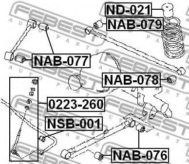 САЙЛЕНБЛОК ЗАДНЕЙ ПРОДОЛЬНОЙ ТЯГИ (NISSAN TERRANO III PATHFINDER R50 1995-2003) FEBEST  арт. NAB077