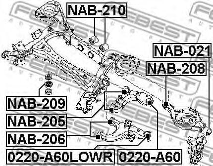 САЙЛЕНБЛОК ЗАДНЕЙ БАЛКИ INFINITI FX45/35 (S50) 2002-2008  арт. NAB209