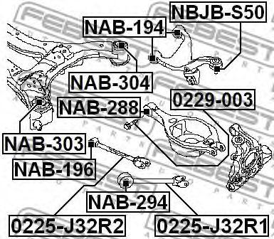Втулка балки NISSAN MURANO, INFINITI FX 03- задн. мост (Пр-во FEBEST)                                 арт. NAB303