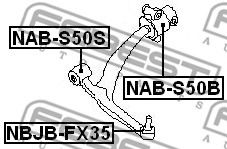 Сайлентблок INFINITI FX35, FX45 03-08 перед. мост (Пр-во FEBEST)                                      арт. NABS50S