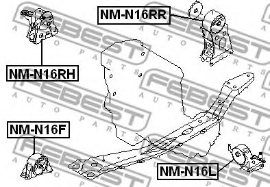 Подушка двигателя задняя FEBEST NMN16RR